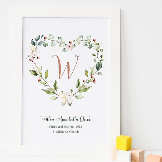 Floral Heart Christening New Baby Print