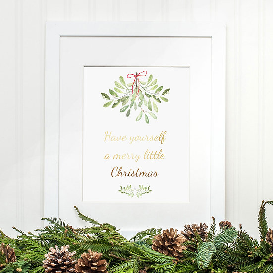 Christmas Mistletoe Wreath Print