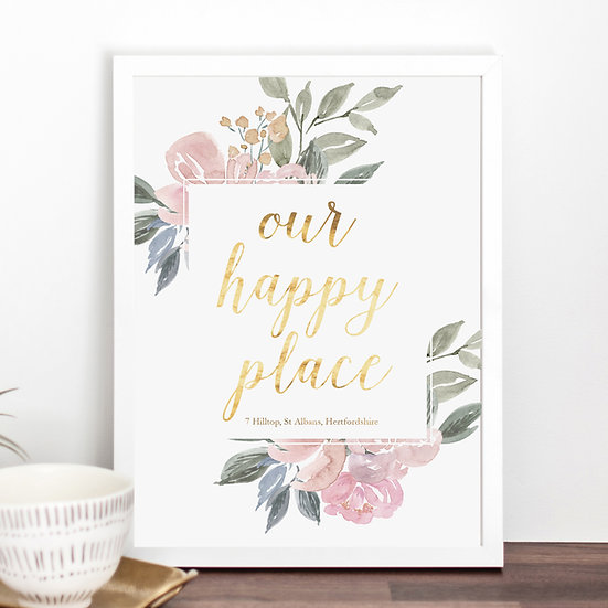 'Our Happy Place' Personalised Print