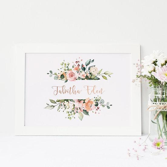 Rose Gold Foil Pretty Floral Name Print