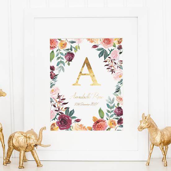 Watercolour Floral And Gold Foil Nursery Gold Foil Print