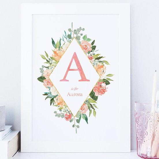 Personalised Floral Initial Name Nursery Print