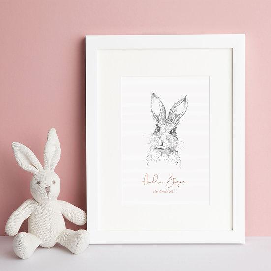 Enchanted Bunny New Baby Nursery Print