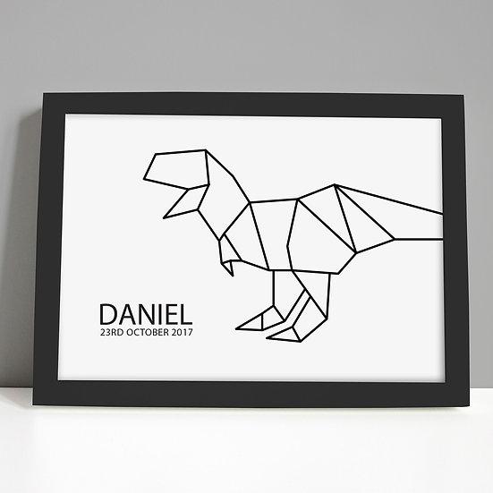 Monochrome Black Foil T Rex Nursery Print