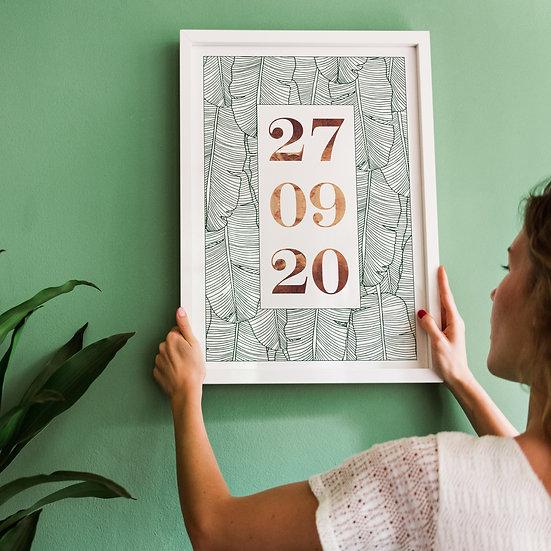 Modern Botanical Anniversary Marriage Date Print