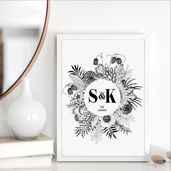 Monochrome Botanical Wedding Anniversary Print