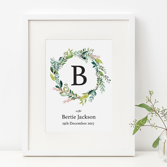 Personalised Neutral Foliage Initial Print