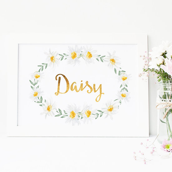 Personalised Daisy And Gold Foil Baby Nursery Print