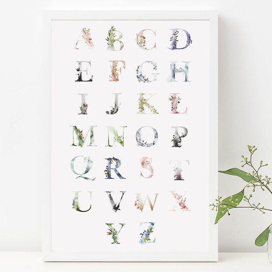 Ethereal Alphabet Digital Nursery Print