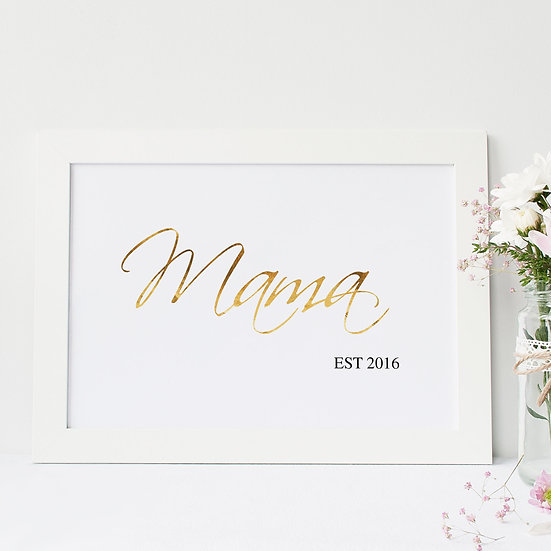 Personalised Mama Est Gold Foil Print