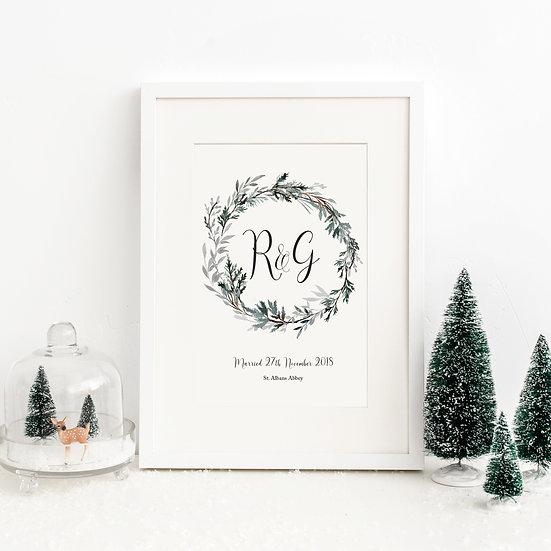 Personalised Winter Wedding Anniversary Initials Print