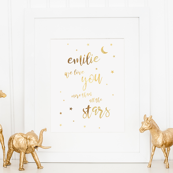 Personalised 'Love you more than all the stars' Gold Foil Nursery Print