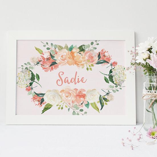Personalised Floral Baby Name Nursery Print