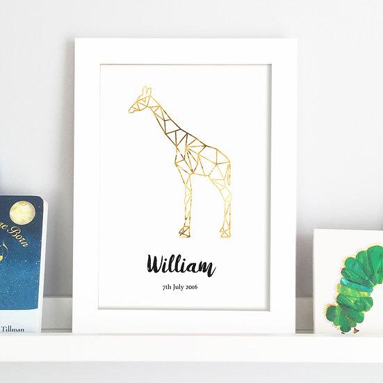 Personalised Geometric Animal Foil Nursery Print