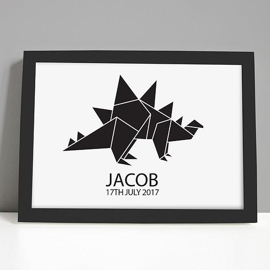 Monochrome Black Foil Stegosaurus Nursery Print
