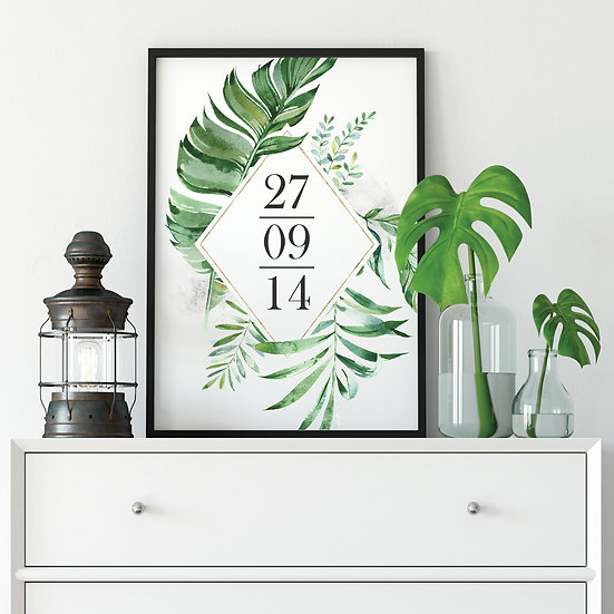 Tropical Wedding Day Anniversary Date Print