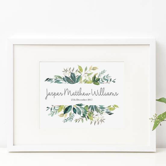 Personalised Watercolour Leaf Nursery Print