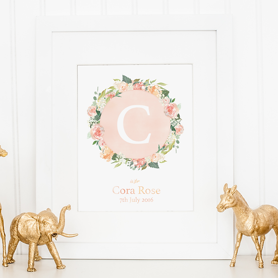 Personalised Floral Wreath Baby Name Nursery Print