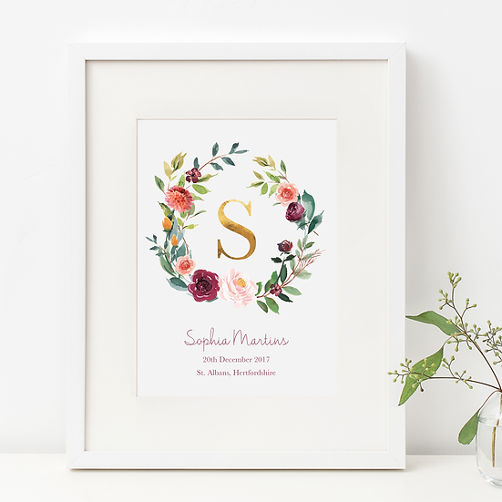 Autumnal Rose Wreath New Baby Print