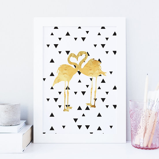 Loved Up Flamingo Gold Foil Monochrome Print