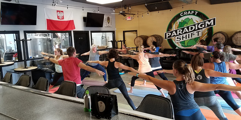 """Last Saturday"" yoga at Paradigm Shift Brewing $6"