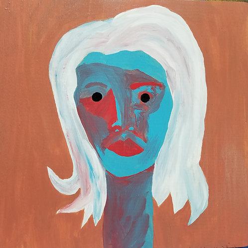 "Self Portrait 9.25""x9"" on wood"