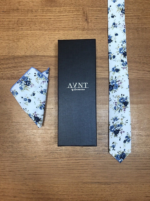 Floral Cotton Skinny Tie & Pocket Square