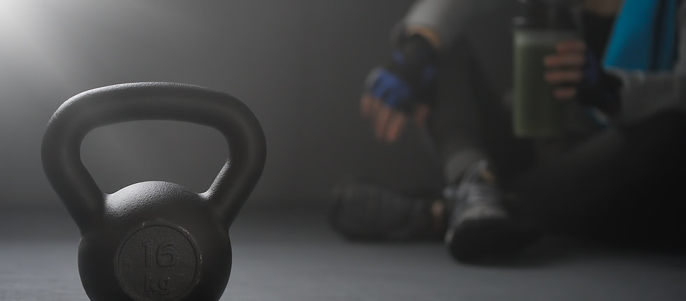 Close up of kettlebell weights on floor