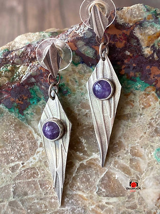Stunning Sterling Silver Diamond Drop Charoite Earrings
