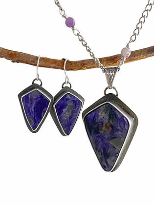 Magnificent Purple Charoite Shield Silver Pendant and Earrings