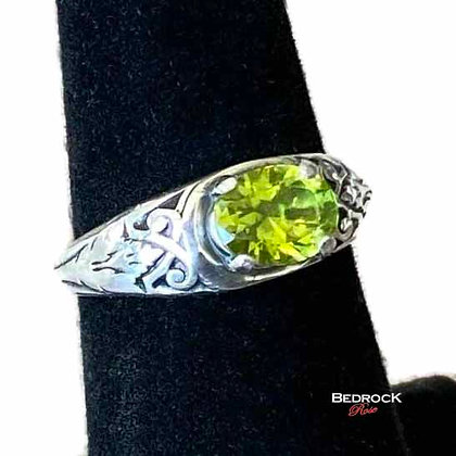 Precious Peridot Intricate Sterling Silver Ring