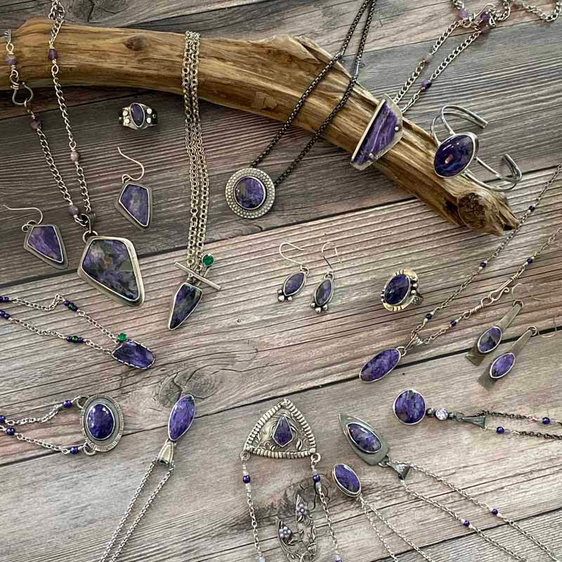 Flatlay Image of Entire Charoite Collection