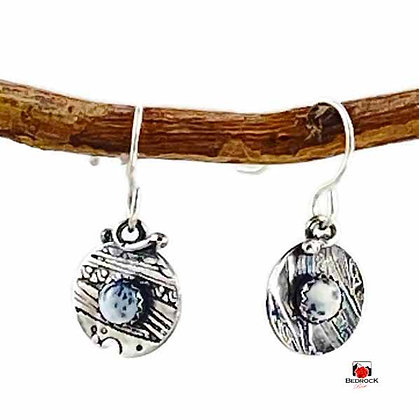 Merlinite Gemstone Circular Sterling Silver Disc Dangling Earrings