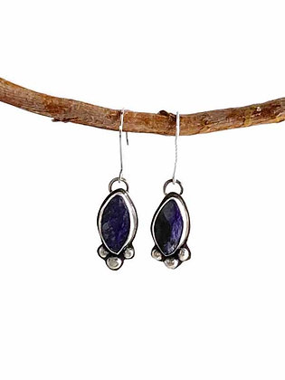 Vibrant Purple Charoite Dangling Earrings