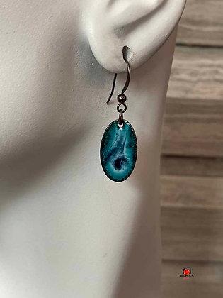 Light Blue and Black Swirl Oval Enamel Dangling Earrings
