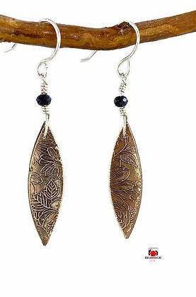 Stylish Elongated Rose Bronze Floral Dangling Earrings