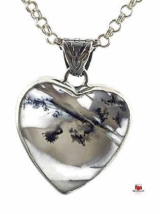 Merlinite Sterling Silver Heart Pendant