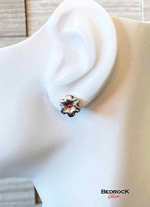 Fine Silver Miniature Flower Post Earrings Orange Stamen