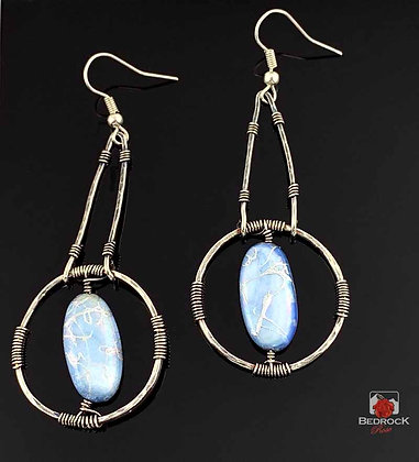 Dazzling Silver and Blue Crackle Dangle Earrings