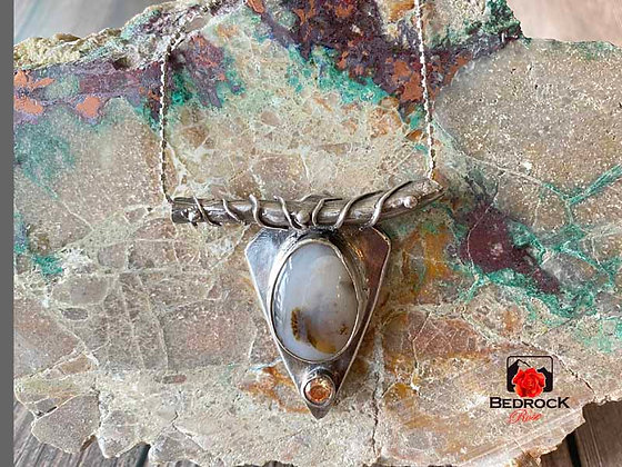 Charming Silver Hand-Fabricated Montana Agate Pendant