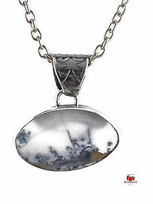 Merlinite Gemstone Winterscape Sterling Silver Pendant