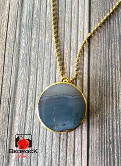 Brazilian Agate-Inlay-Brass- Pendant