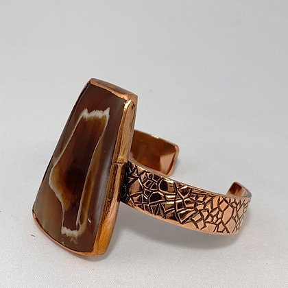 Pebble Textured Copper Cuff with Petrified Wood Setting
