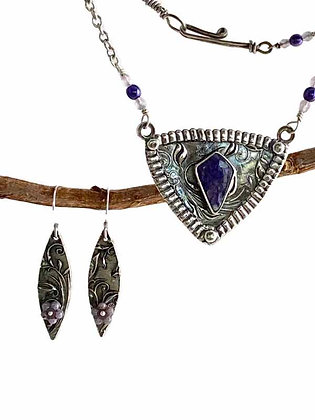 Charming Charoite with Silver Vine Pendant and Earrings