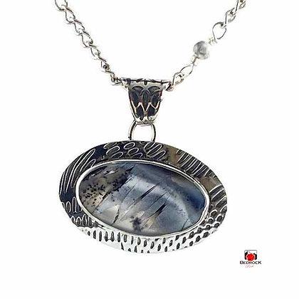 Merlinite Stormy Skies Sterling Silver Pendant