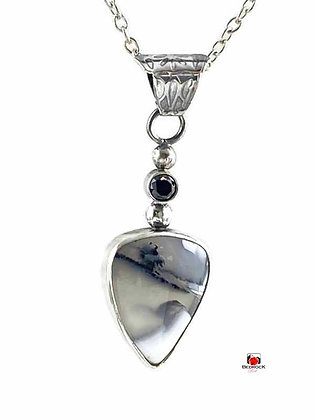 Merlinite Gemstone Trillion Sterling Silver Pendant