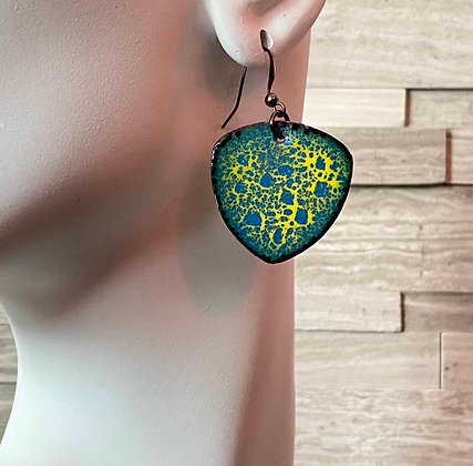Captivating Blue and Yellow Trillion Enamel Earrings