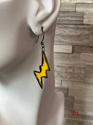 Yellow Flash Lightening Bolt Enamel Dangling Earrings
