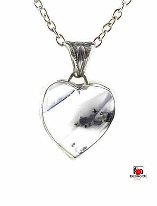Merlinite Gemstone Heart Sterling Silver Pendant
