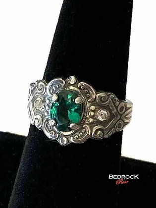 Emerald Green Clementine Sterling Silver Ring